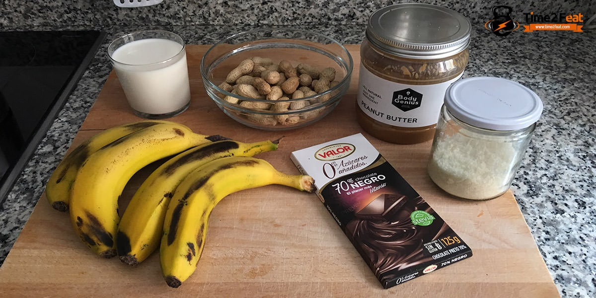 receta helado platano cacahuete chocolate saludable