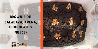 receta brownie calabaza avena chocolate nueces saludable