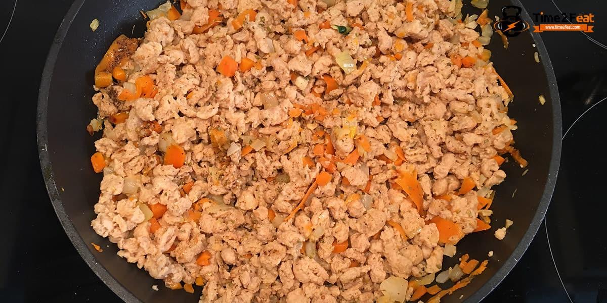 receta tallarines calabacin soja texturizada bolonesa