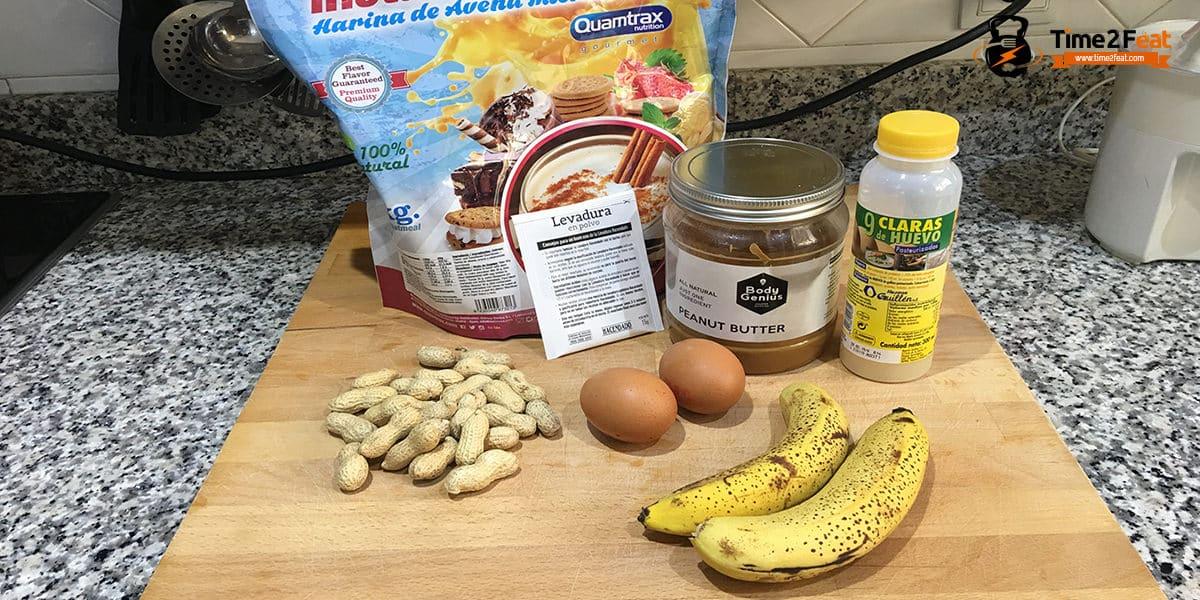 receta muffins fit platano crema cacahuete cacahuetes tostados