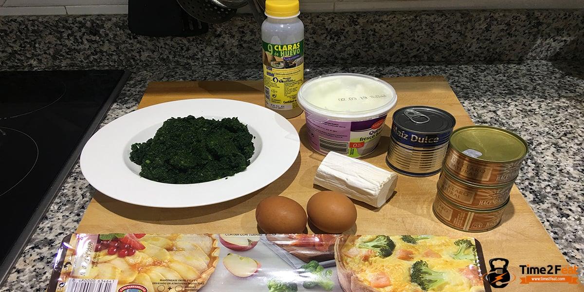 receta quiche saludable espinacas atun maiz queso cabra